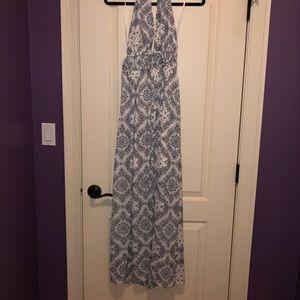 Aqua halter top maxi dress